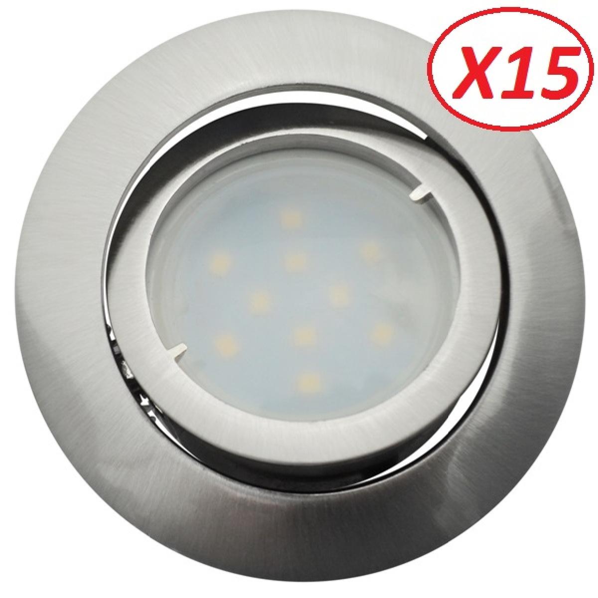 Eurobryte Lot de 15 Spot Led Encastrable Complete Satin Orientable lumière Blanc Neutre eq. 50W ref.895