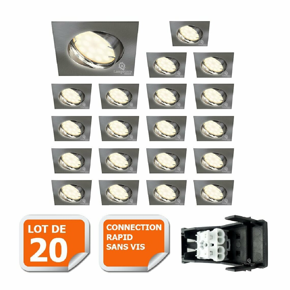 Eurobryte LOT DE 20 SPOT ENCASTRABLE ORIENTABLE LED CARRE ALU BROSSE GU10 230V eq. 50W BLANC CHAUD
