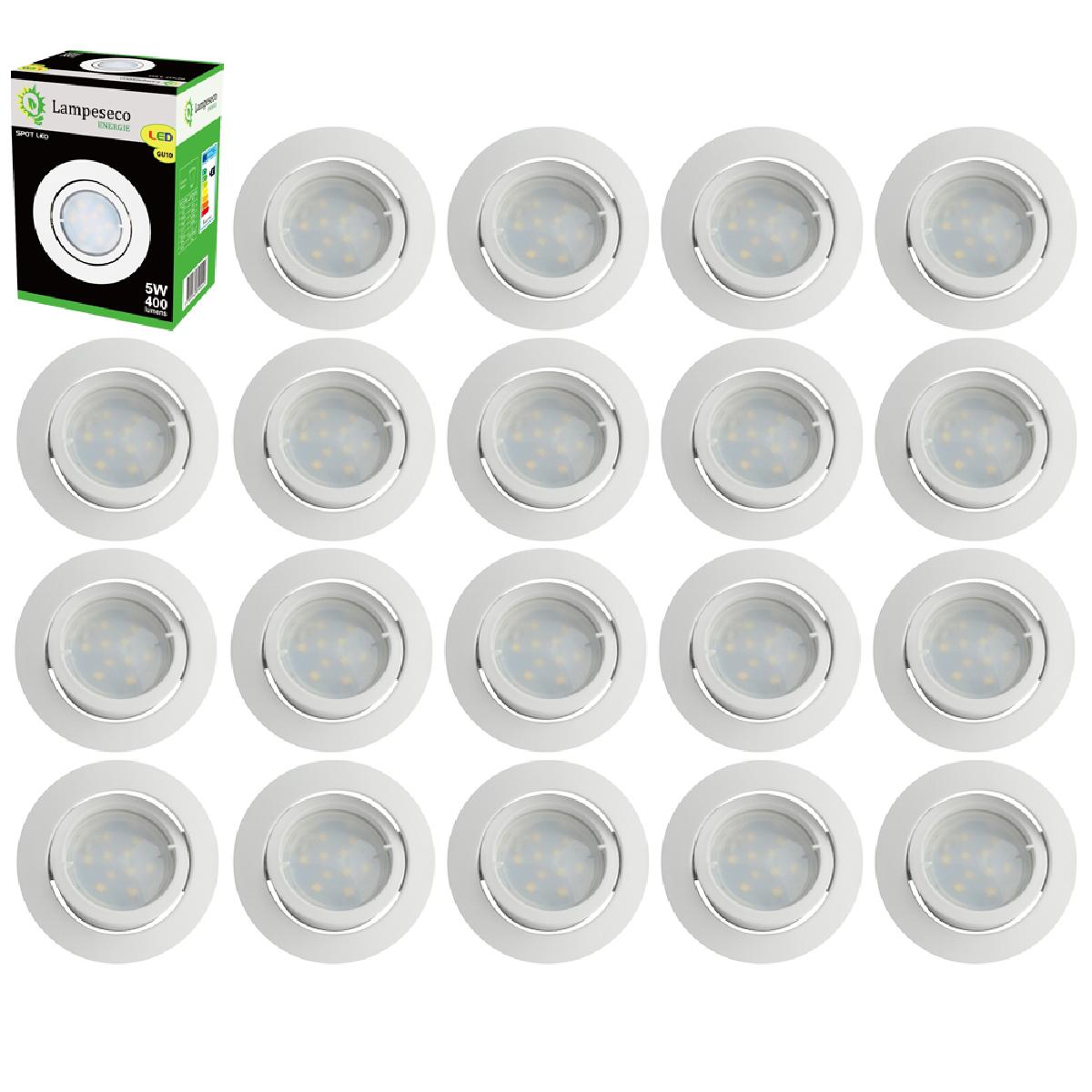 Eurobryte Lot de 20 Spot Led Encastrable Complete Blanc Orientable lumière Blanc Chaud eq. 50W ref.193