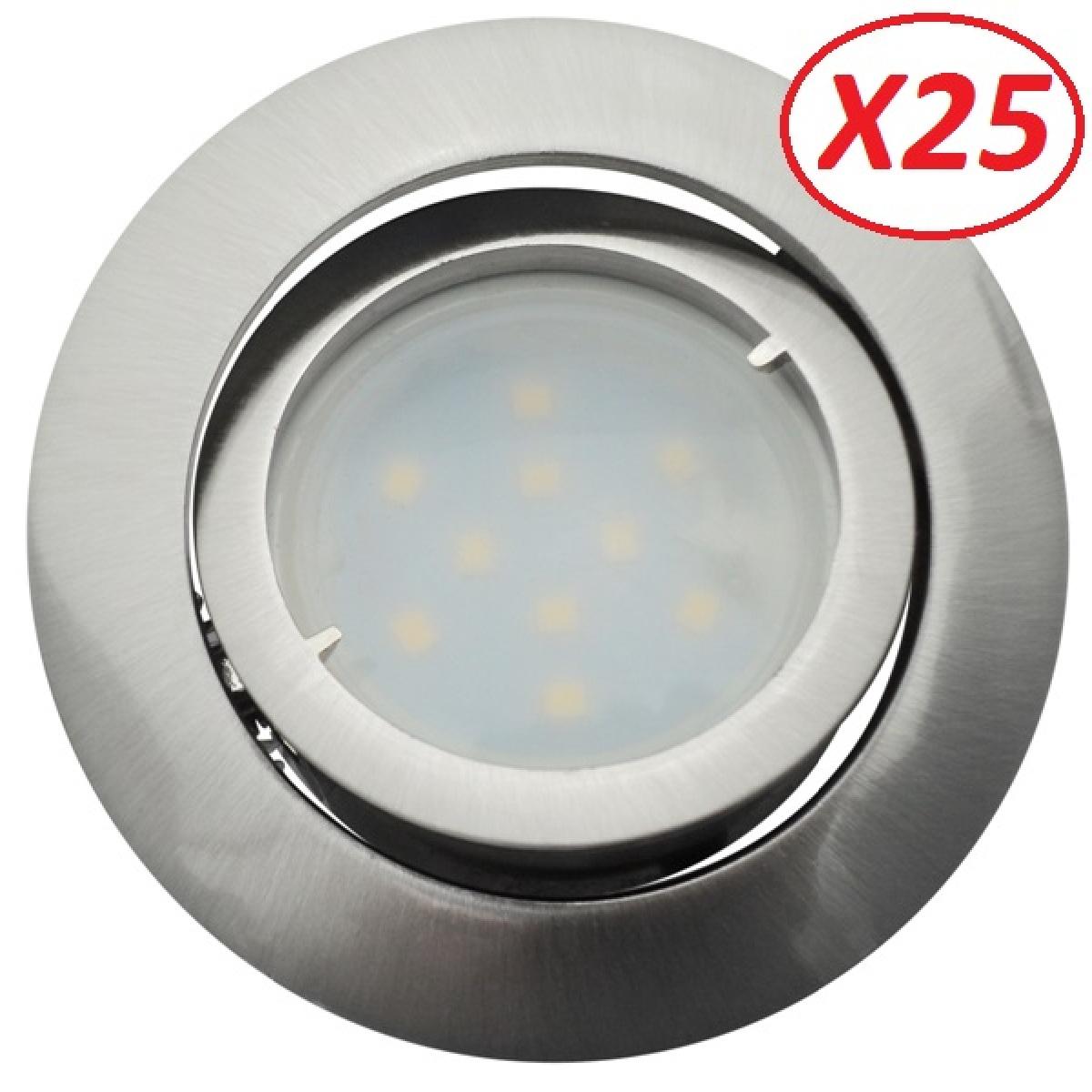 Eurobryte Lot de 25 Spot Led Encastrable Complete Satin Orientable lumière Blanc Neutre eq. 50W ref.895