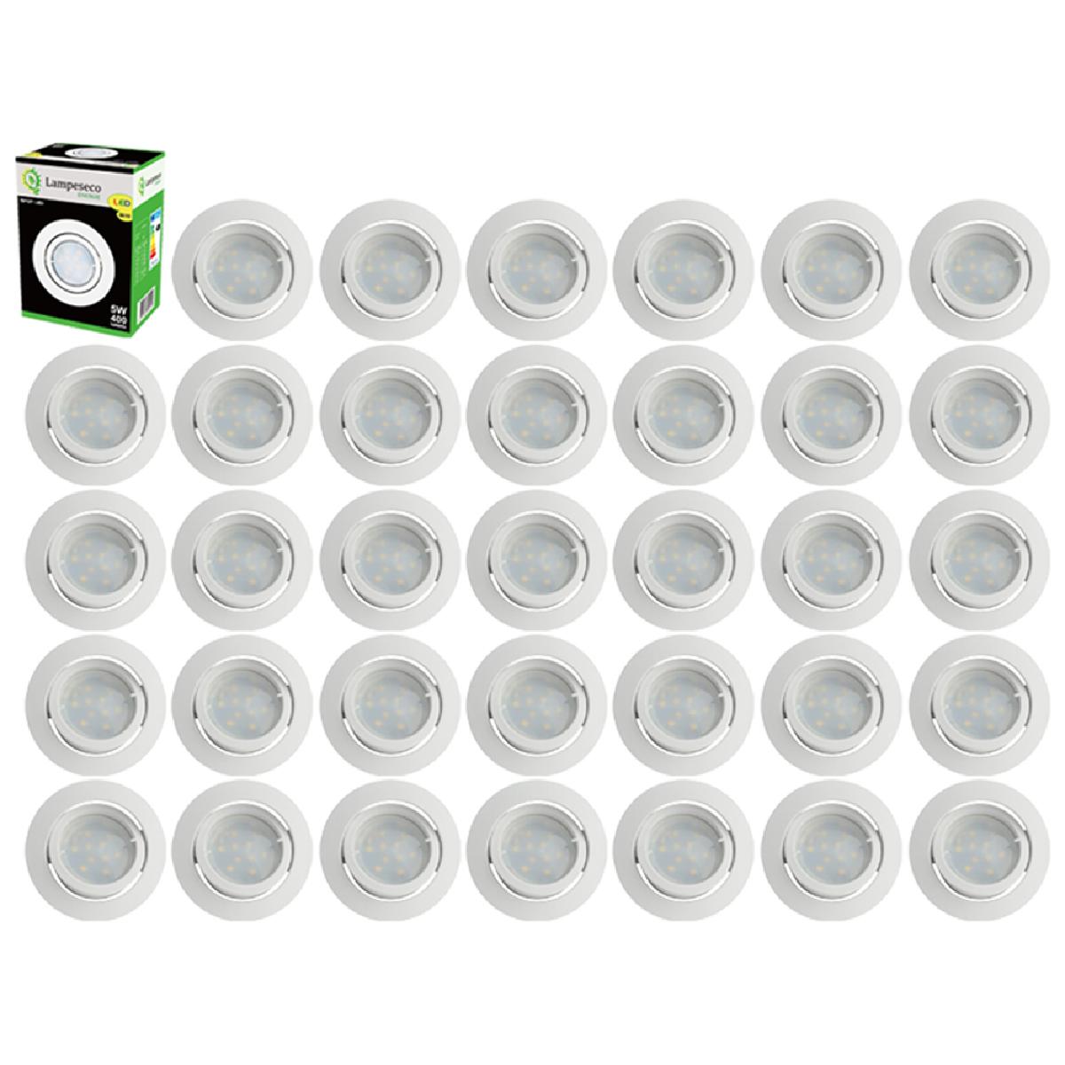 Eurobryte Lot de 35 Spot Led Encastrable Complete Blanc Orientable lumière Blanc Chaud eq. 50W ref.193