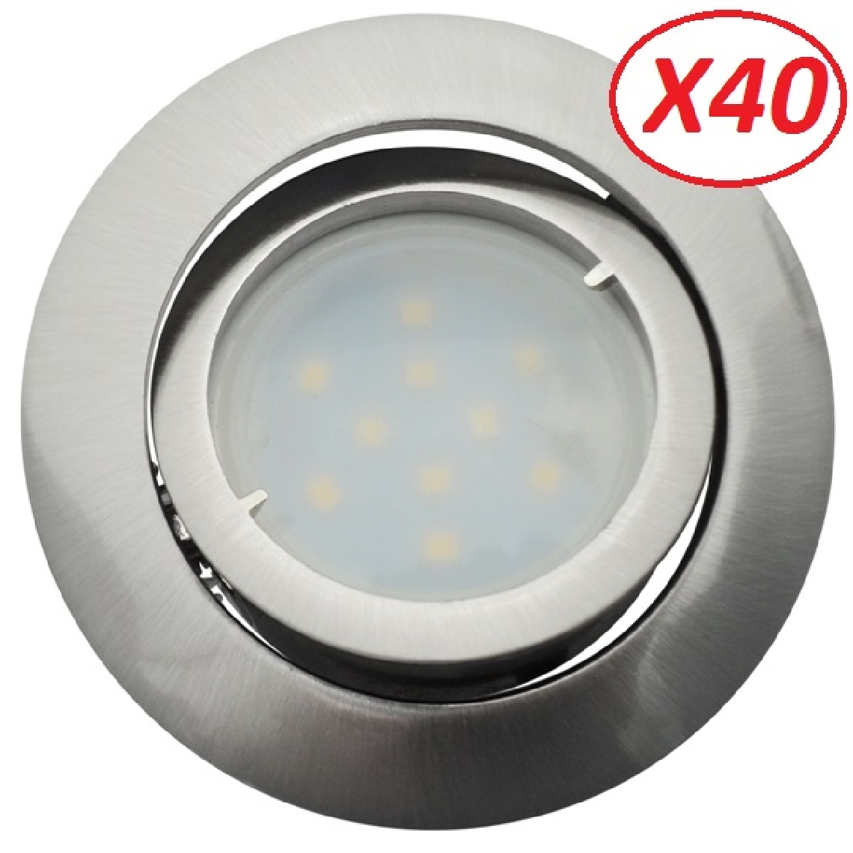Eurobryte Lot de 40 Spot Led Encastrable Complete Satin Orientable lumière Blanc Chaud eq. 50W ref.209