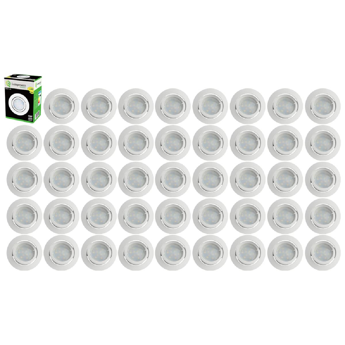 Eurobryte Lot de 45 Spot Led Encastrable Complete Blanc Orientable lumière Blanc Chaud eq. 50W ref.193