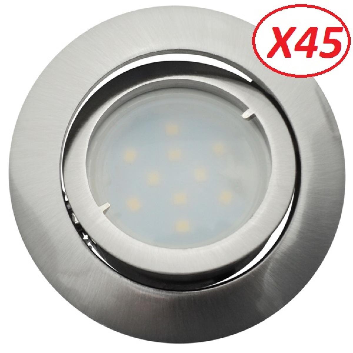 Eurobryte Lot de 45 Spot Led Encastrable Complete Satin Orientable lumière Blanc Chaud eq. 50W ref.209