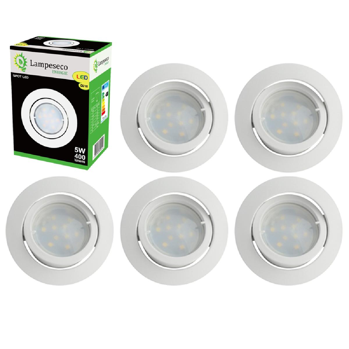 Eurobryte Lot de 6 Spot Led Encastrable Complete Blanc Orientable lumière Blanc Chaud eq. 50W ref.13