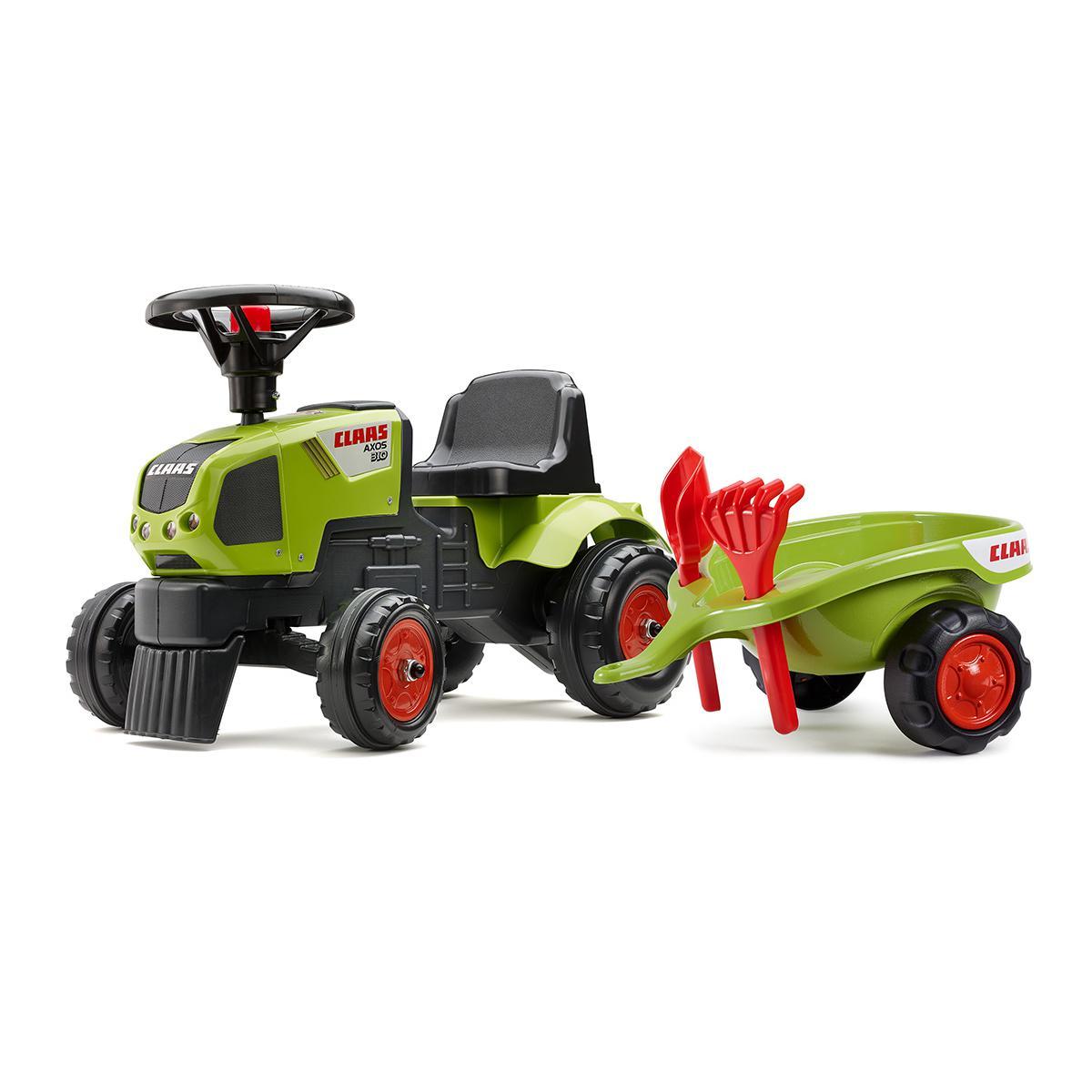 Falk / Falquet Tracteur enfant Claas Axos + remorque + accessoires