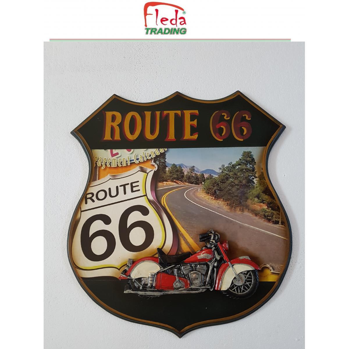 Fleda Trading Cadre Bois Plaque Vintage ROUTE 66 TRÈS CULT. Décoration murale DIM 50X45