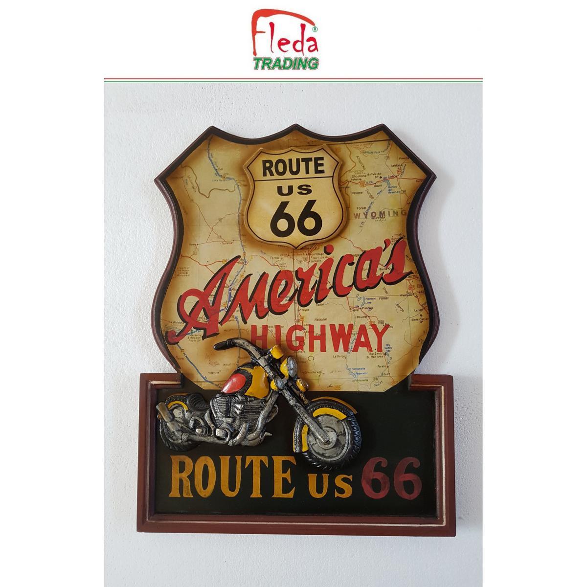 Fleda Trading Cadre Bois Plaque Vintage ROUTE 66 TRÈS CULT. DIM 54X40 Décoration murale