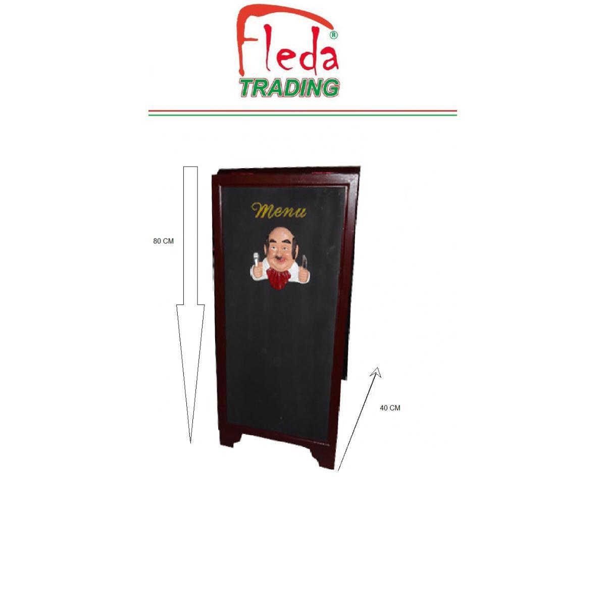 Fleda Trading Marqueur de menu de tableau noir de chevalet double face 80x40 avec résine Cook