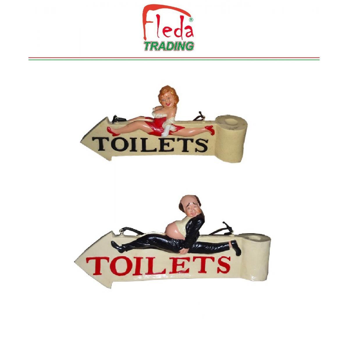 Fleda Trading Toilette de porte extérieure - Indicateurs WC - 2 enseignes en résine HOMME / FEMME, dim.cm. 60x28h