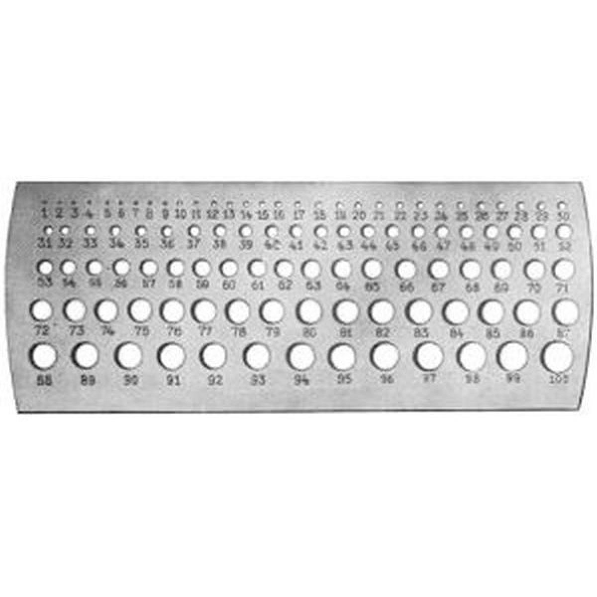 Forum 3 x Jauge millimétrique de perçage, Plage de mesure : 0,1-10 mm, Pas 0,1 mm, Nombre de trous 100