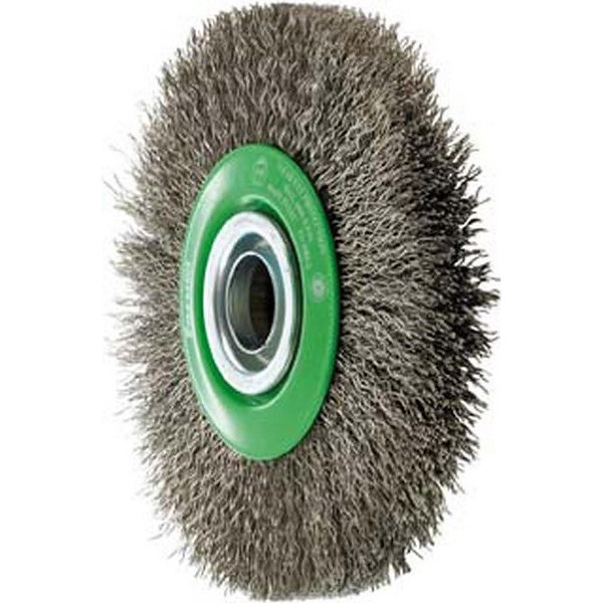 Forum Brosse circulaire, fil d'acier inoxydable de 0,3 mm, ondulé, Ø de la brosse : 150 mm, Larg. : de travail 30 mm, Vitesse
