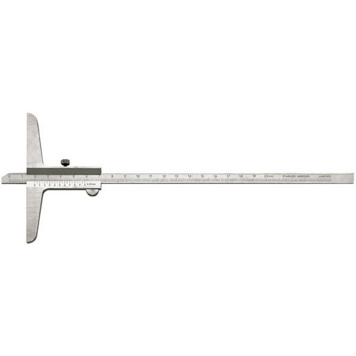 Forum Jauge de profondeur avec règle droite, Plage de mesure : 300 mm, Modèle à vis de blocage, Long. de l'embase 150 mm