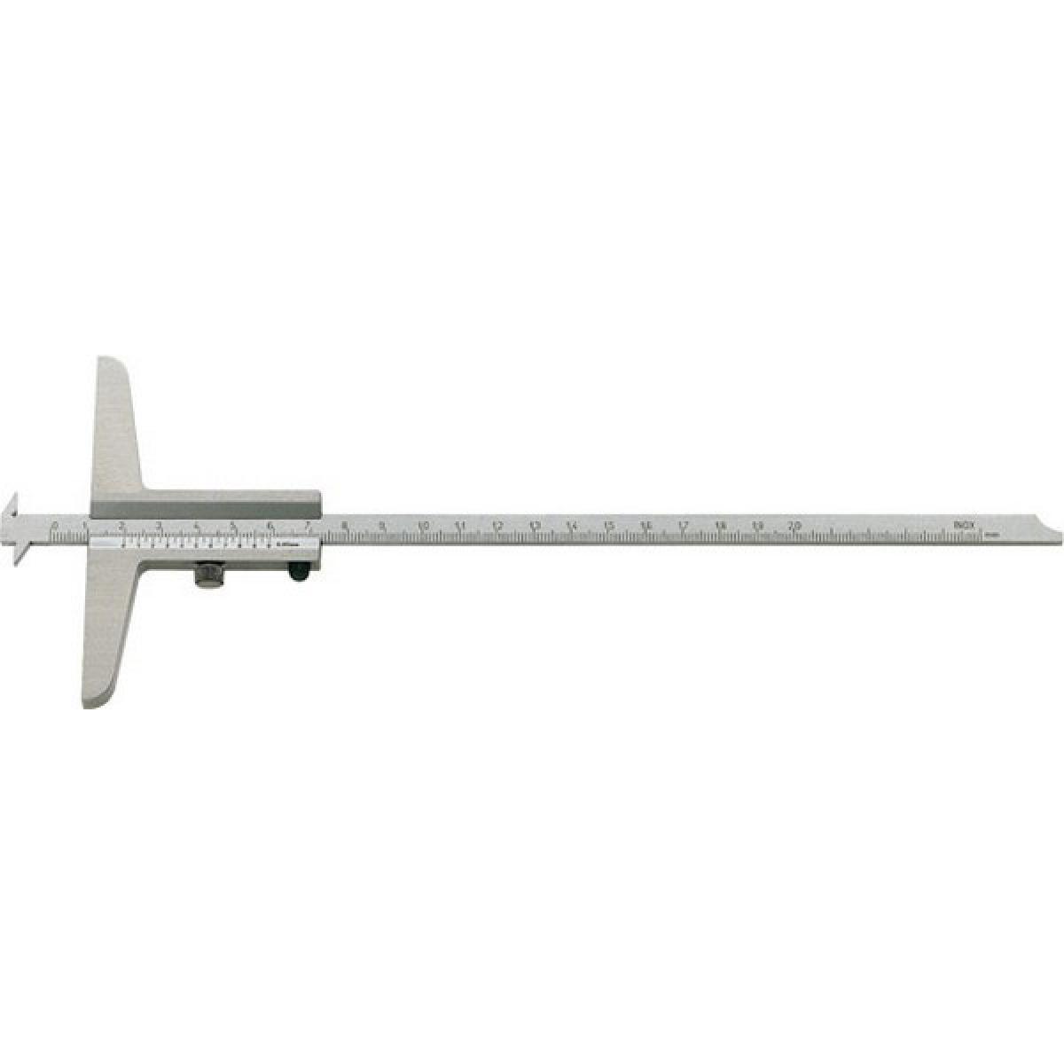 Forum Jauge de profondeur pour mesure de gorges et d'écarts, Plage de mesure : 200 mm, Modèle à vis de blocage, Long. de l'emb