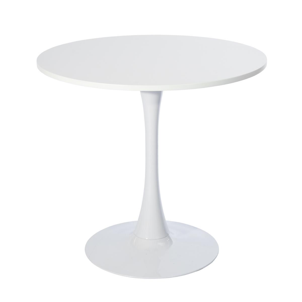 Furniturer Table De Jardin Table À Manger Ronde Blanc En Bois 4 Places D100cm