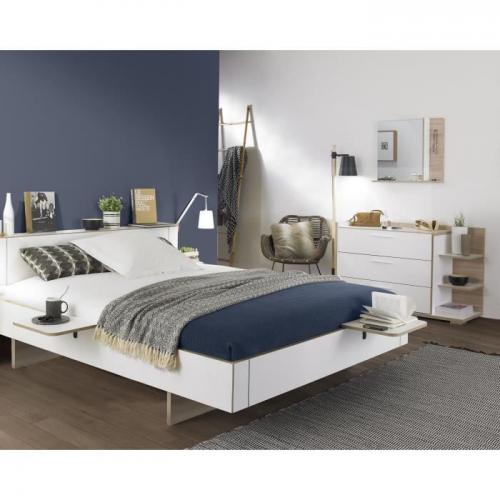 Gami - ARCANE Ensemble chambre Lit adulte 160x200 + 2 chevets + commode + miroir - Decor blanc et dedre - Made in France Gami   - Gami