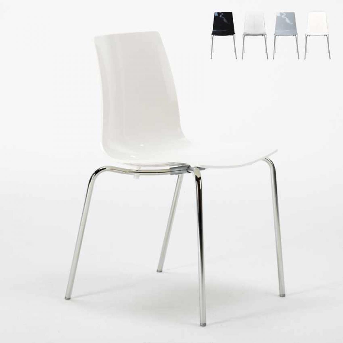 Grand Soleil Chaise de cuisine empilables avec pieds en acier empilables Lollipop Grand Soleil, Couleur: Blanc