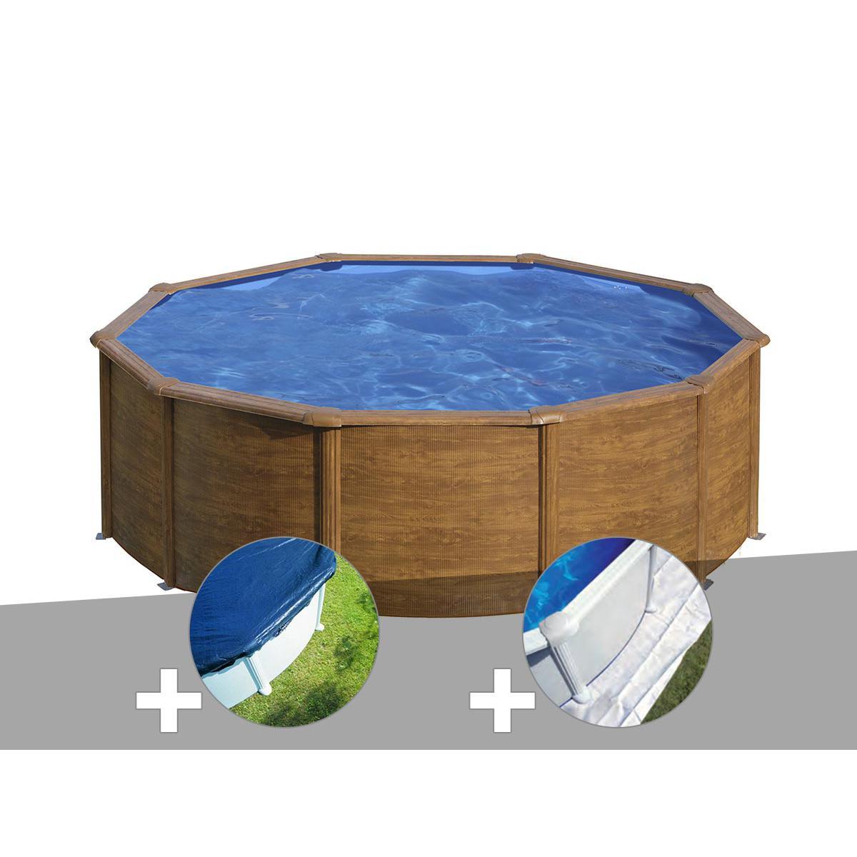 Gre Kit piscine acier aspect bois Gré Sicilia ronde 3,20 x 1,22 m + Bâche hiver + Tapis de sol