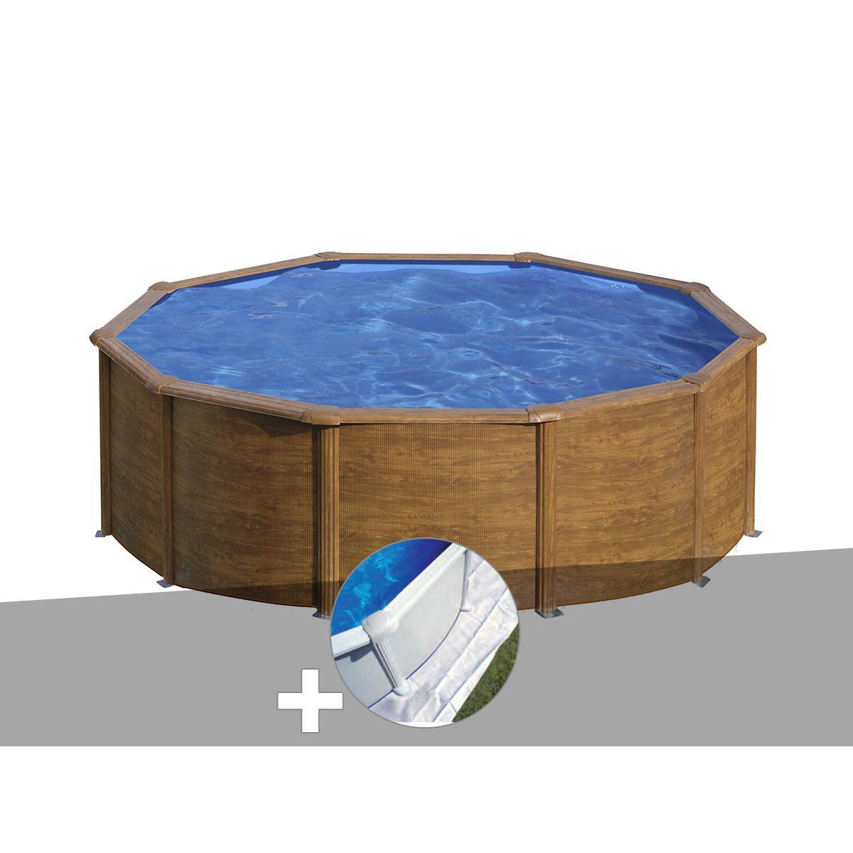 Gre Kit piscine acier aspect bois Gré Sicilia ronde 3,20 x 1,22 m + Tapis de sol