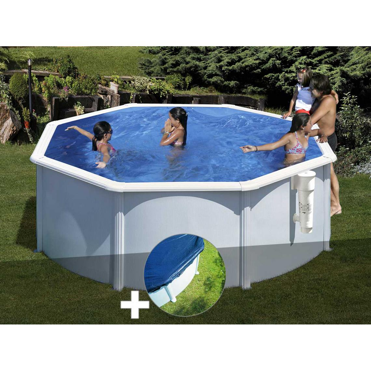 Gre Kit piscine acier blanc Gré Bora Bora ronde 3,20 x 1,22 m + Bâche hiver