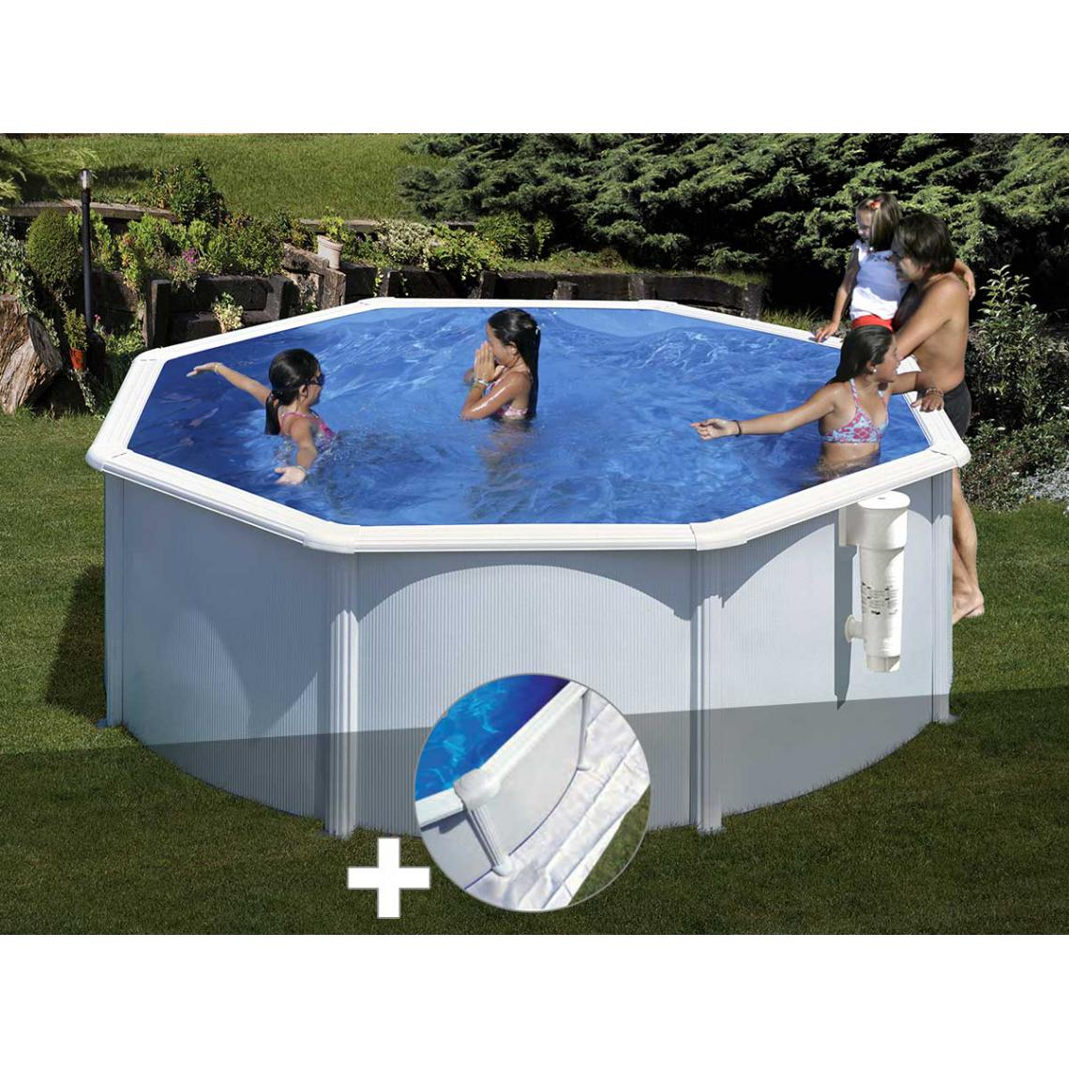 Gre Kit piscine acier blanc Gré Bora Bora ronde 3,20 x 1,22 m + Tapis de sol