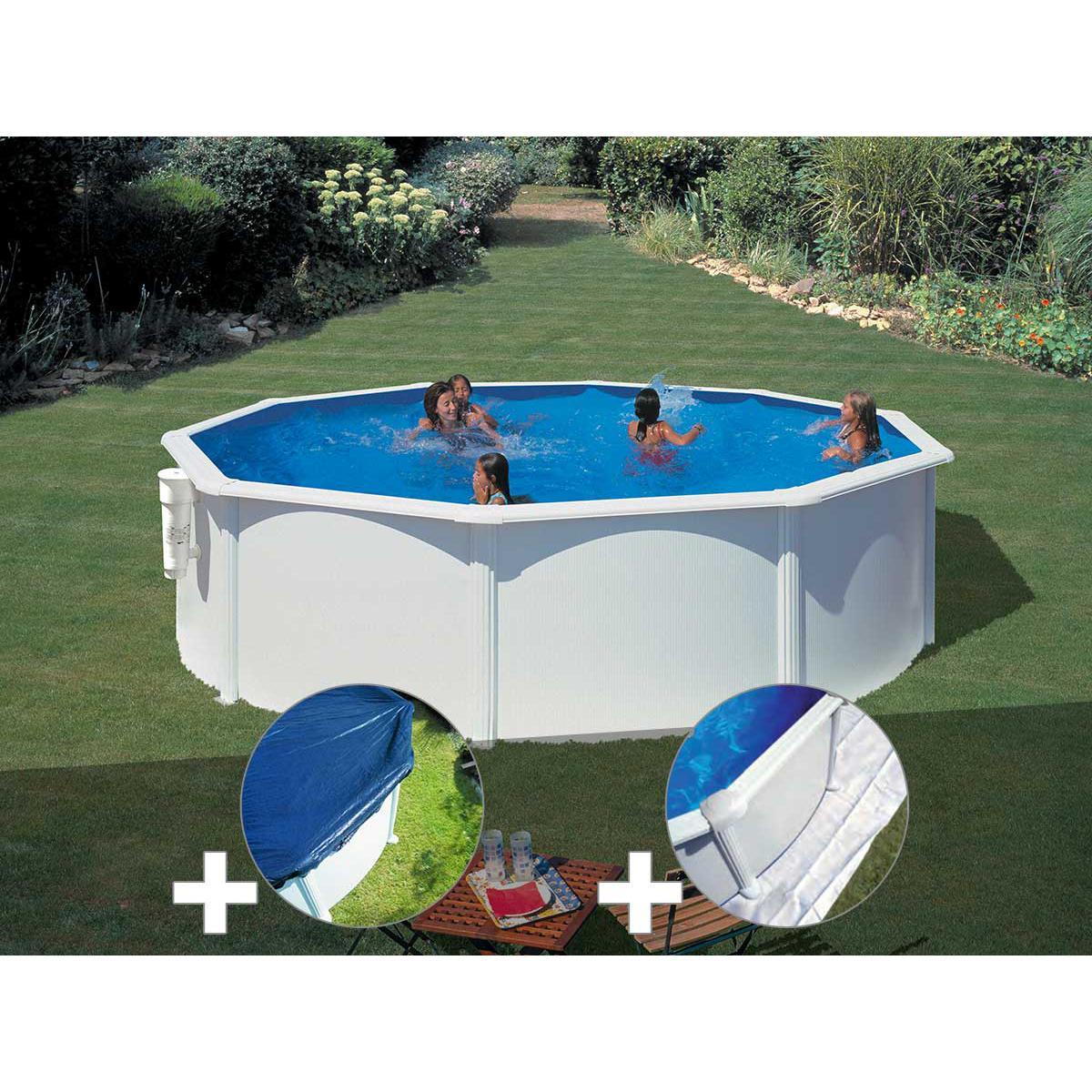 Gre Kit piscine acier blanc Gré Bora Bora ronde 3,70 x 1,22 m + Bâche hiver + Tapis de sol