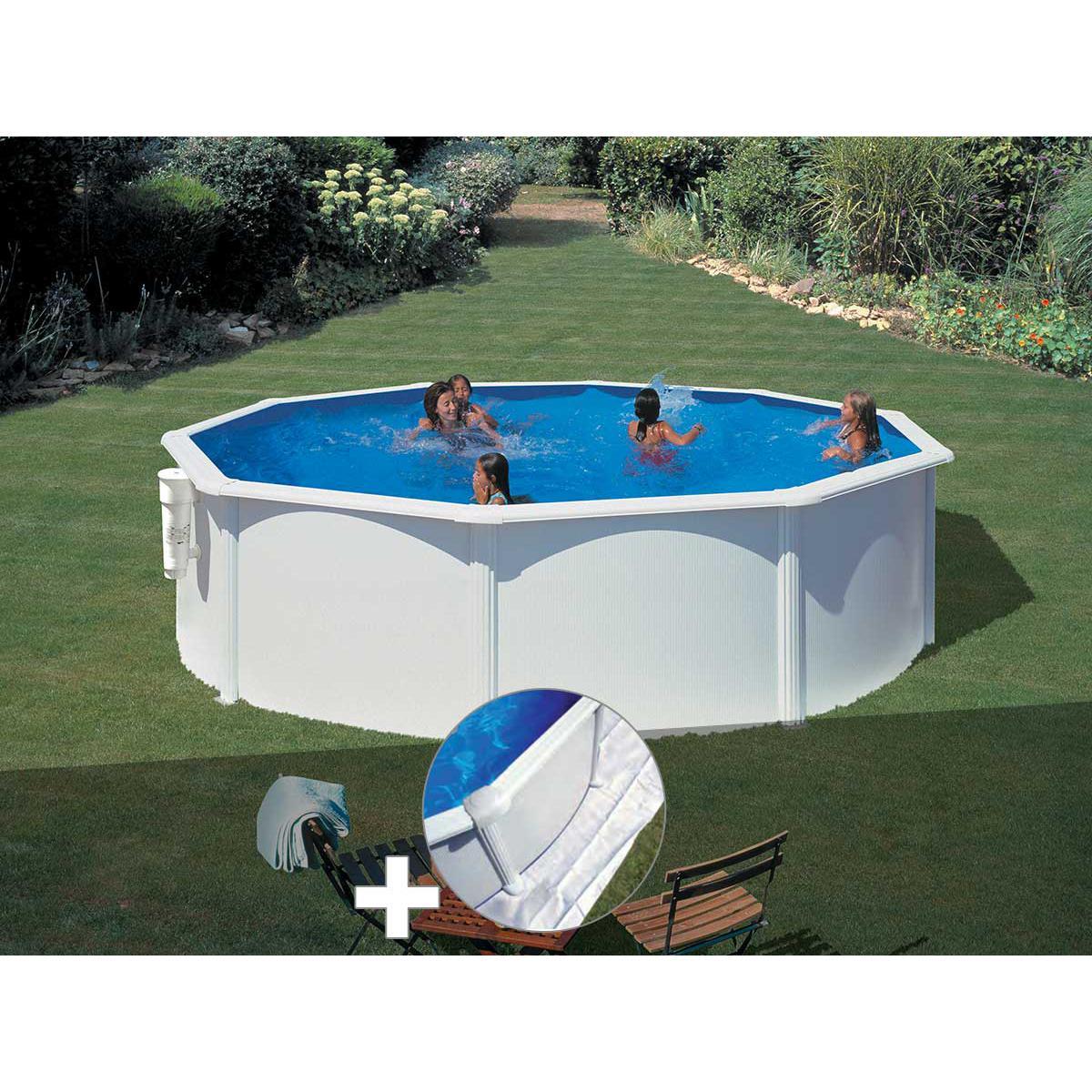 Gre Kit piscine acier blanc Gré Bora Bora ronde 3,70 x 1,22 m + Tapis de sol