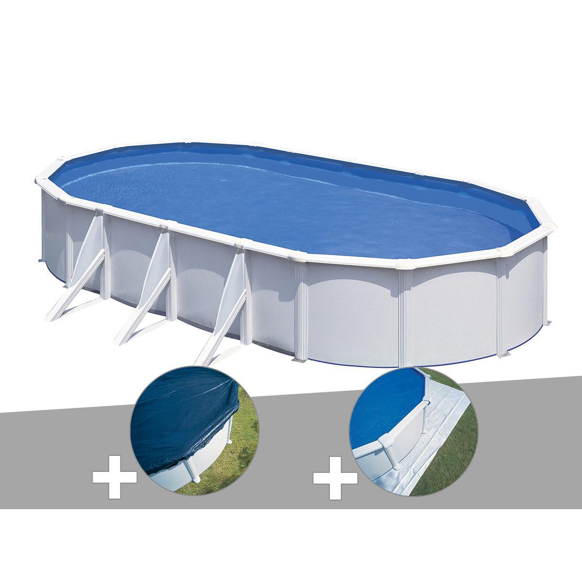 Gre Kit piscine acier blanc Gré Fidji ovale 5,27 x 3,27 x 1,22 m + Bâche hiver + Tapis de sol
