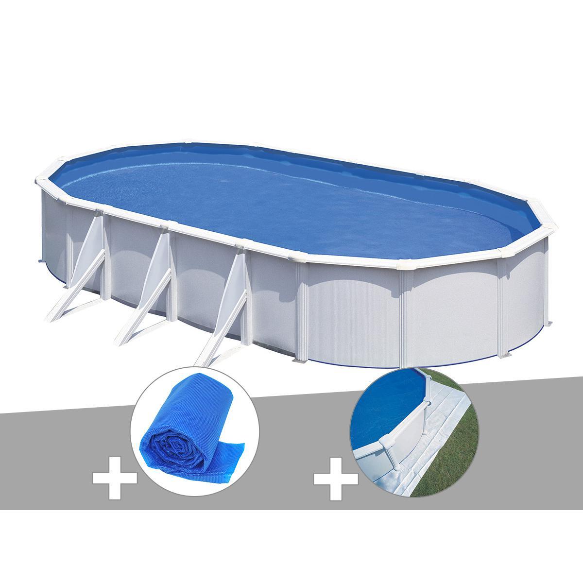 Gre Kit piscine acier blanc Gré Fidji ovale 6,34 x 3,99 x 1,22 m + Bâche à bulles + Tapis de sol