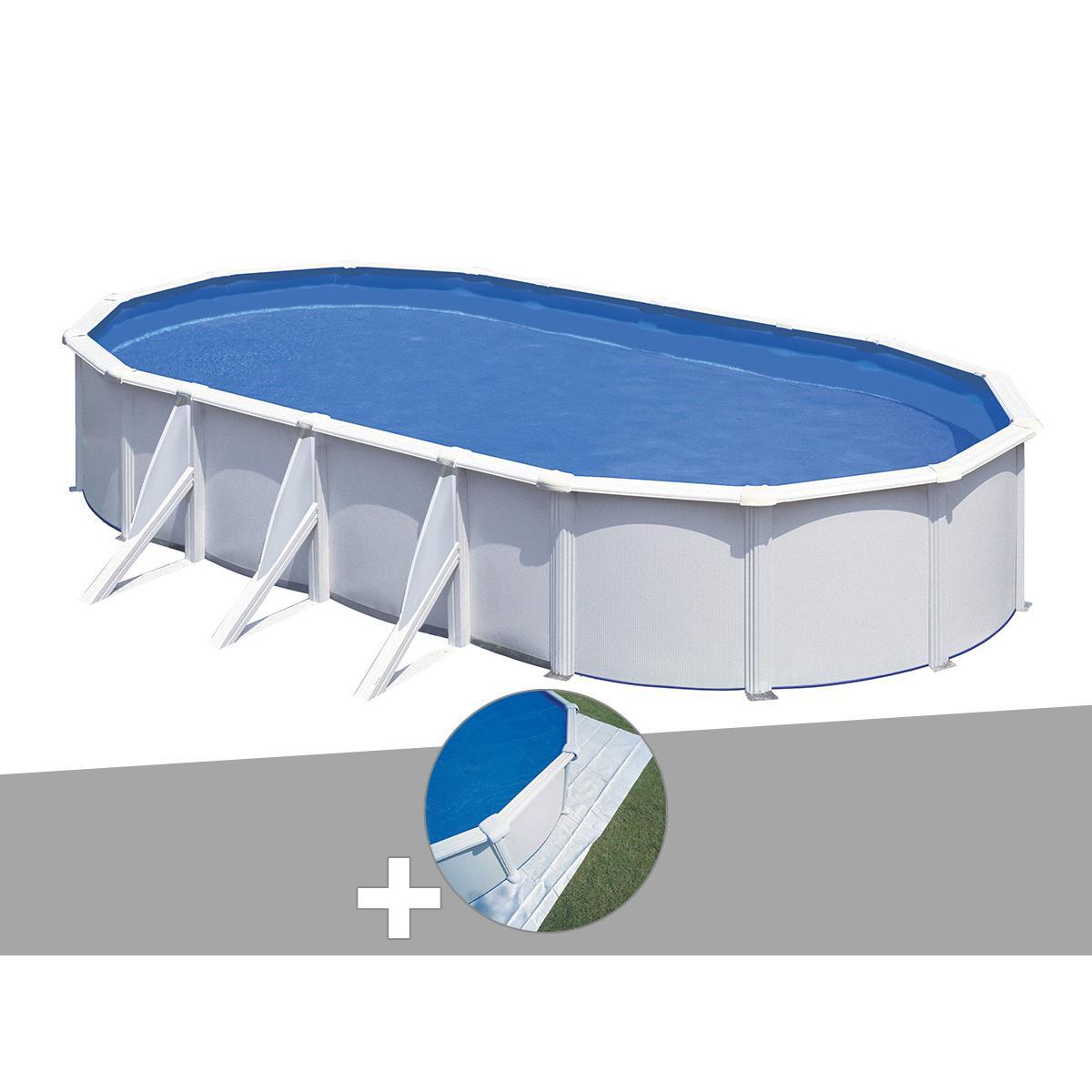 Gre Kit piscine acier blanc Gré Fidji ovale 6,34 x 3,99 x 1,22 m + Tapis de sol