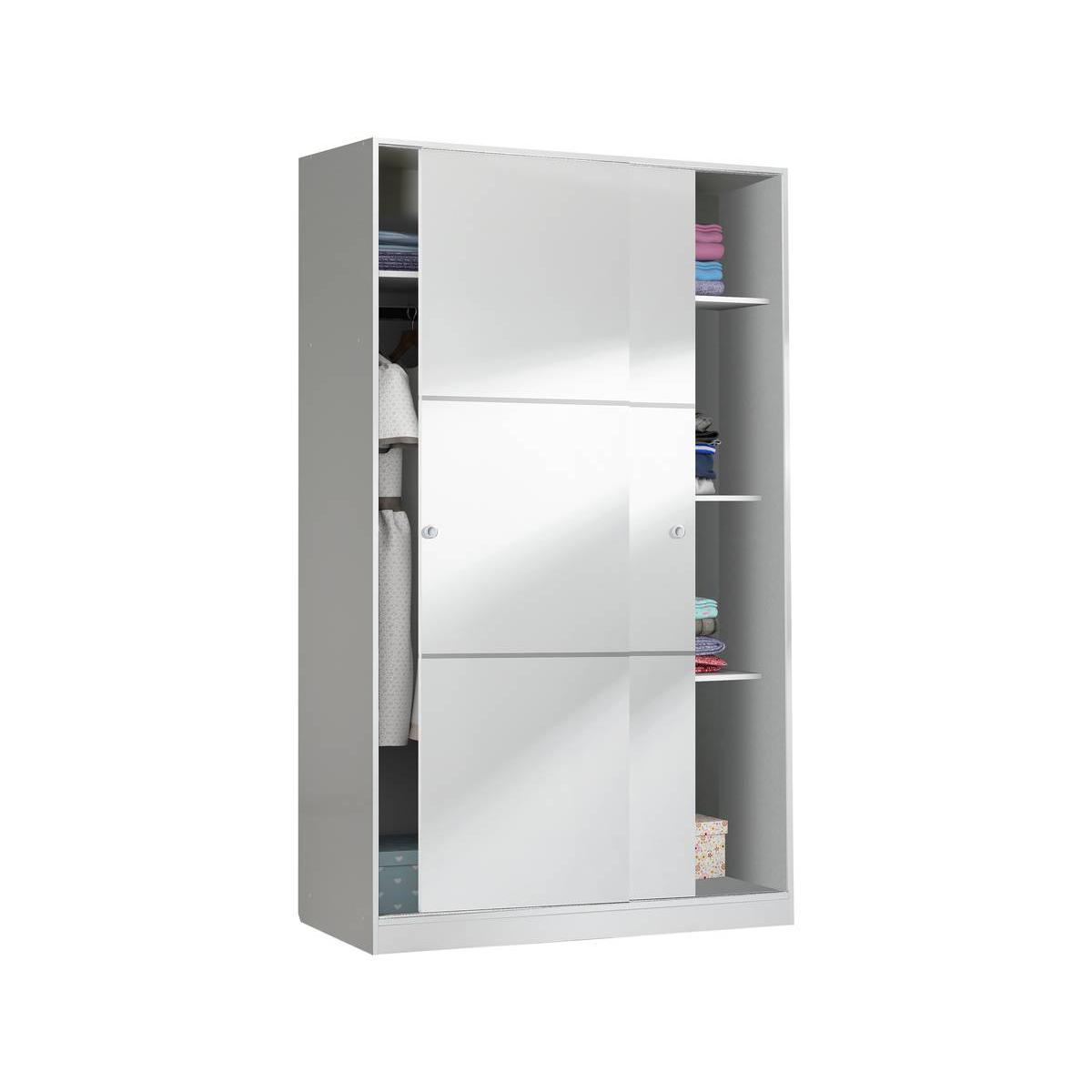 Habitat Et Jardin Armoire Max - 2 portes coulissantes - 200 x 120 x 50 cm - Blanc