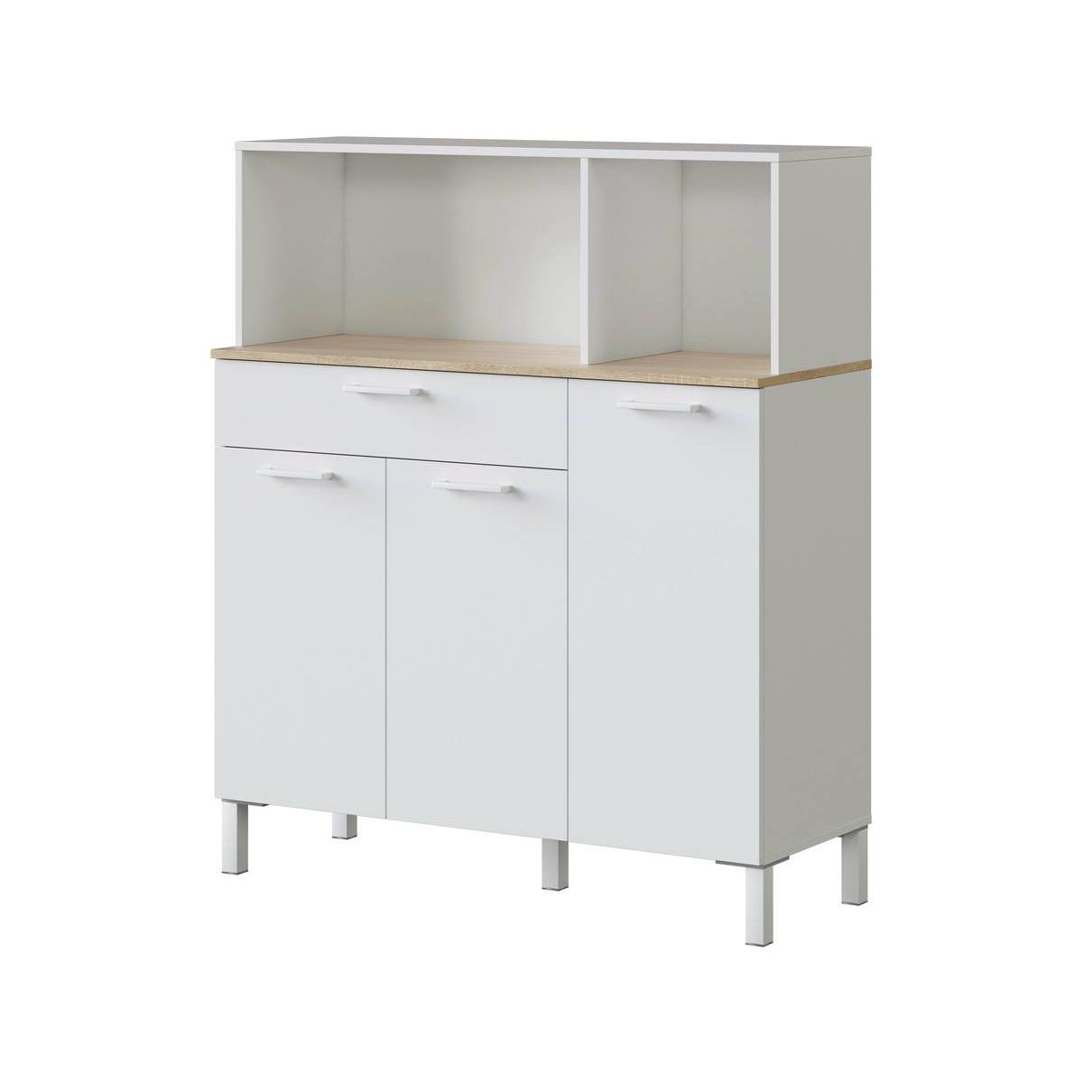 Habitat Et Jardin Buffet de cuisine Kira - 3 portes + 1 tiroir - 126 x 108 x 40 cm - Blanc