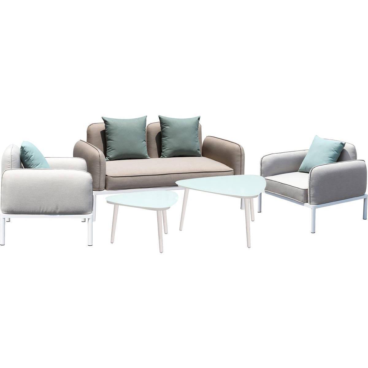 Habitat Et Jardin Salon de jardin en tissu Sevilla - 1 canapé 2 places + 2 fauteuils + 2 tables basses - Gris