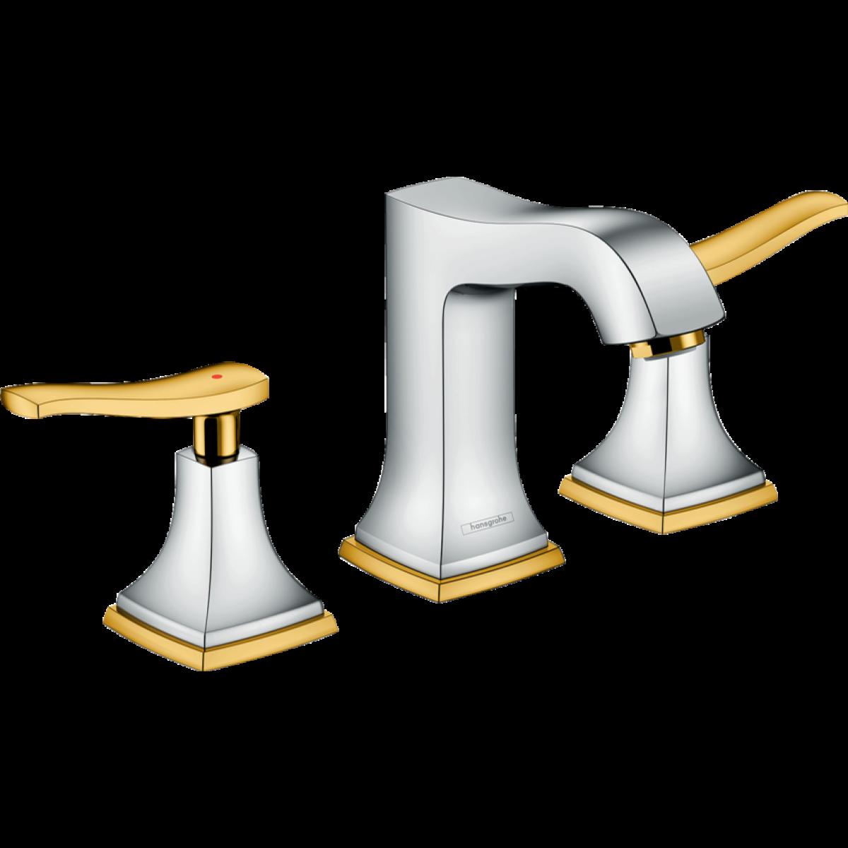 Hansgrohe Hansgrohe - Mélangeur de lavabo 110 Metropol Classic 3 trous poignées manettes avec tirette et vidage finition aspect ch
