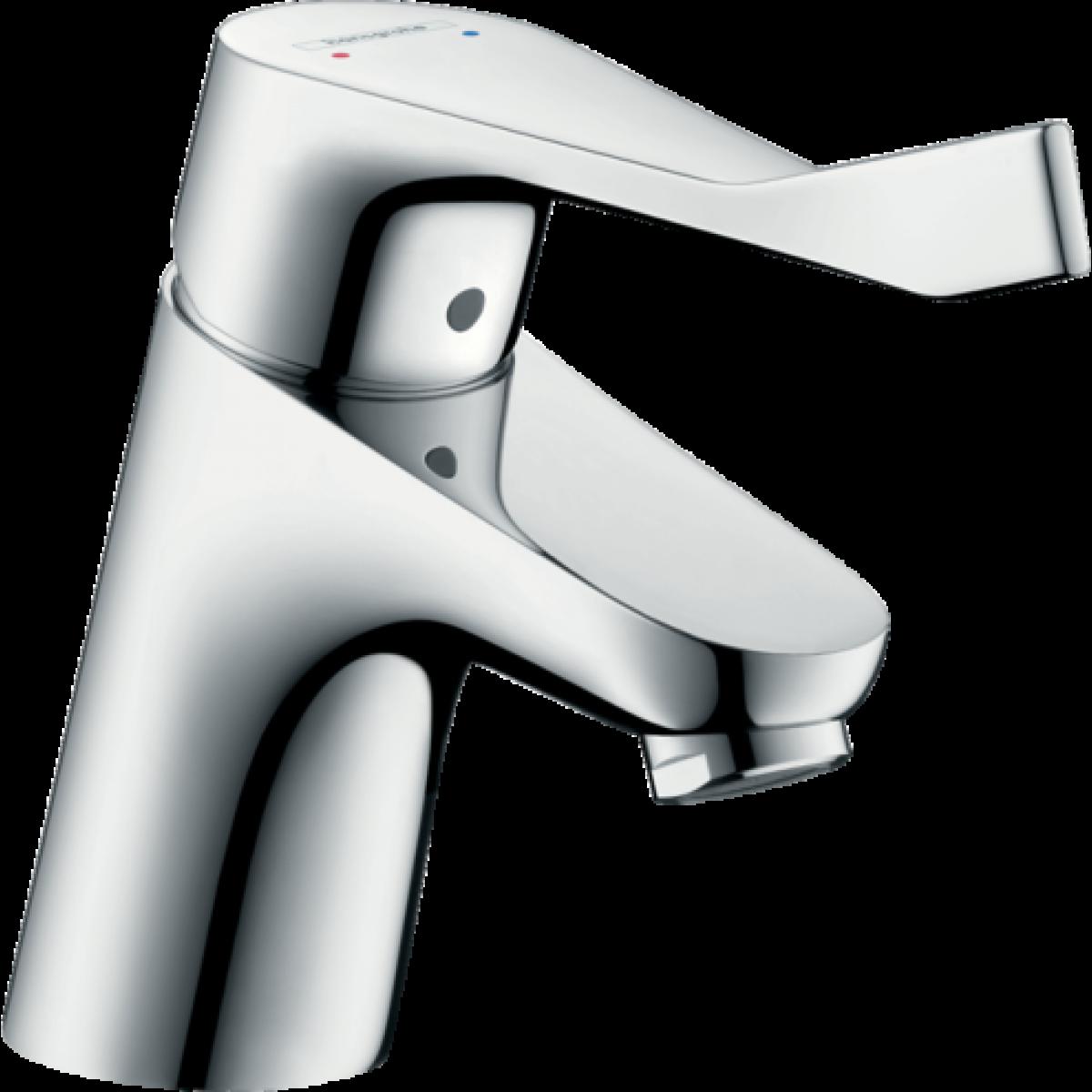 Hansgrohe Hansgrohe - Mitigeur de lavabo Focus 70 longueur 101 mm Care avec poignée extra longue, avec tirette et vidage chromé