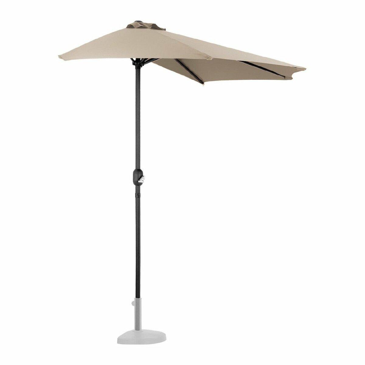 Helloshop26 Demi parasol de jardin meuble abri terrasse pentagonal 270 x 135 cm crème 14_0001340