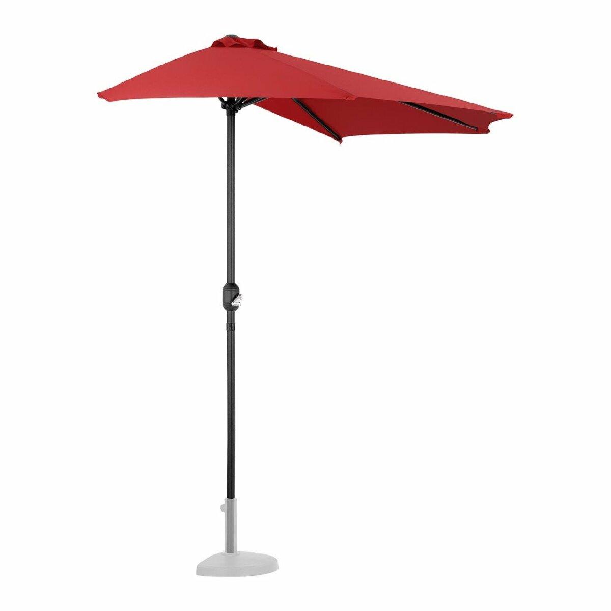 Helloshop26 Demi parasol de jardin meuble abri terrasse pentagonal 270 x 135 cm rouge 14_0001341