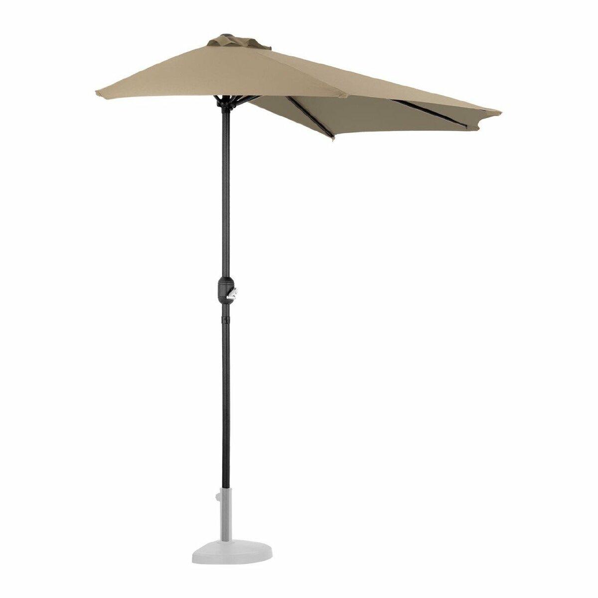 Helloshop26 Demi parasol de jardin meuble abri terrasse pentagonal 270 x 135 cm taupe 14_0001342