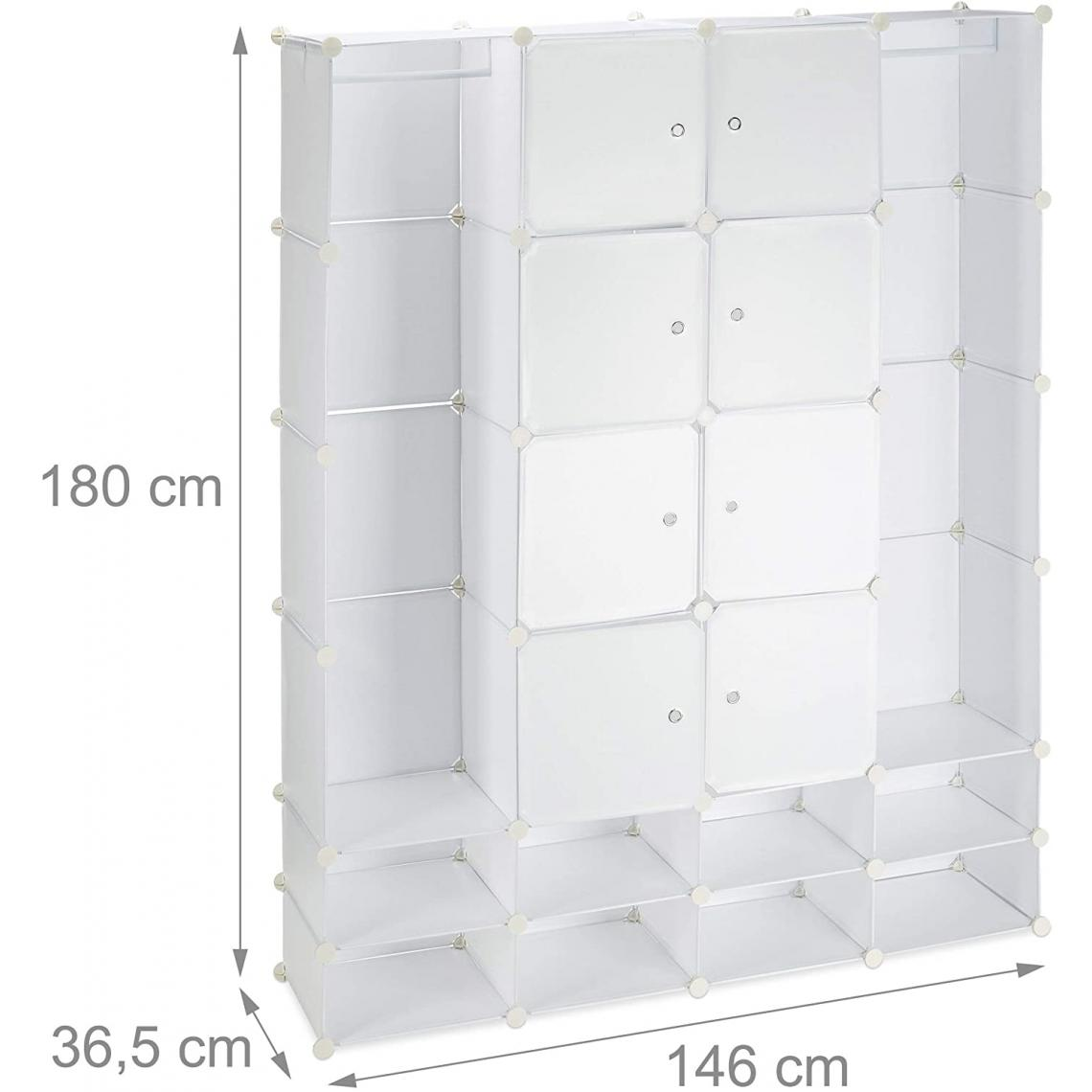 Helloshop26 Armoire de rangement en plastique meuble penderie étagère avec portes et tringle 180 cm blanc 13_0001958_2