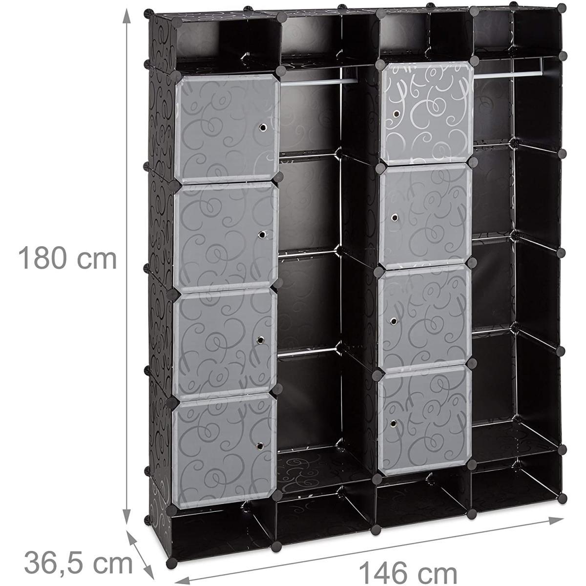 Helloshop26 Armoire de rangement en plastique meuble penderie étagère avec portes et tringle 180 cm noir 13_0001958_3