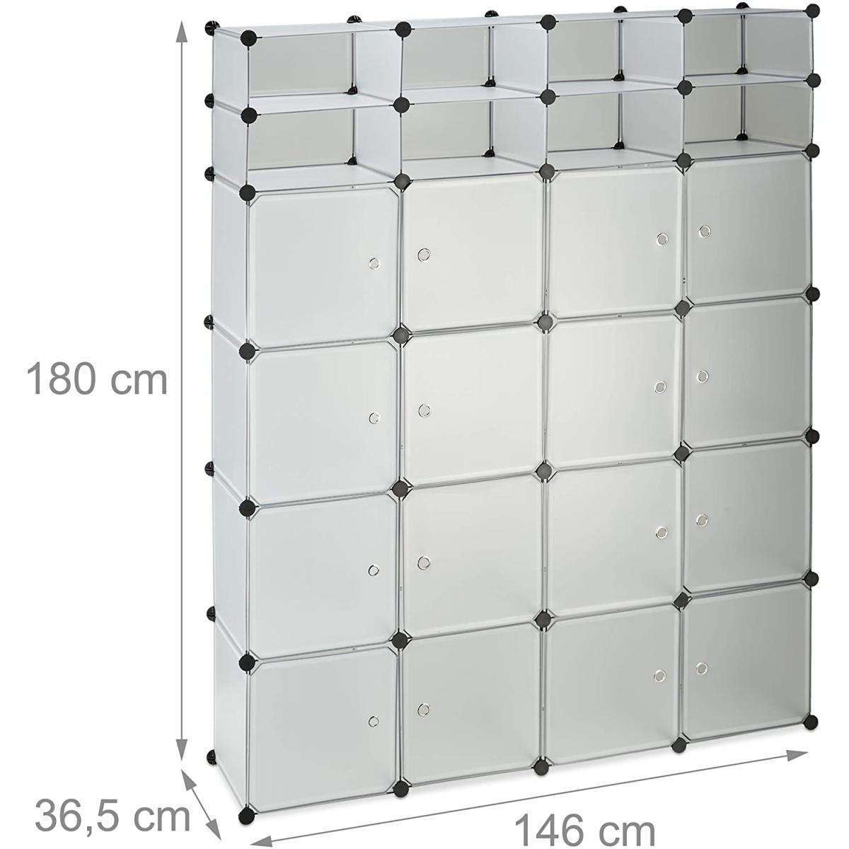 Helloshop26 Armoire de rangement en plastique meuble penderie étagère avec portes et tringle 180 cm transparent 13_0001958