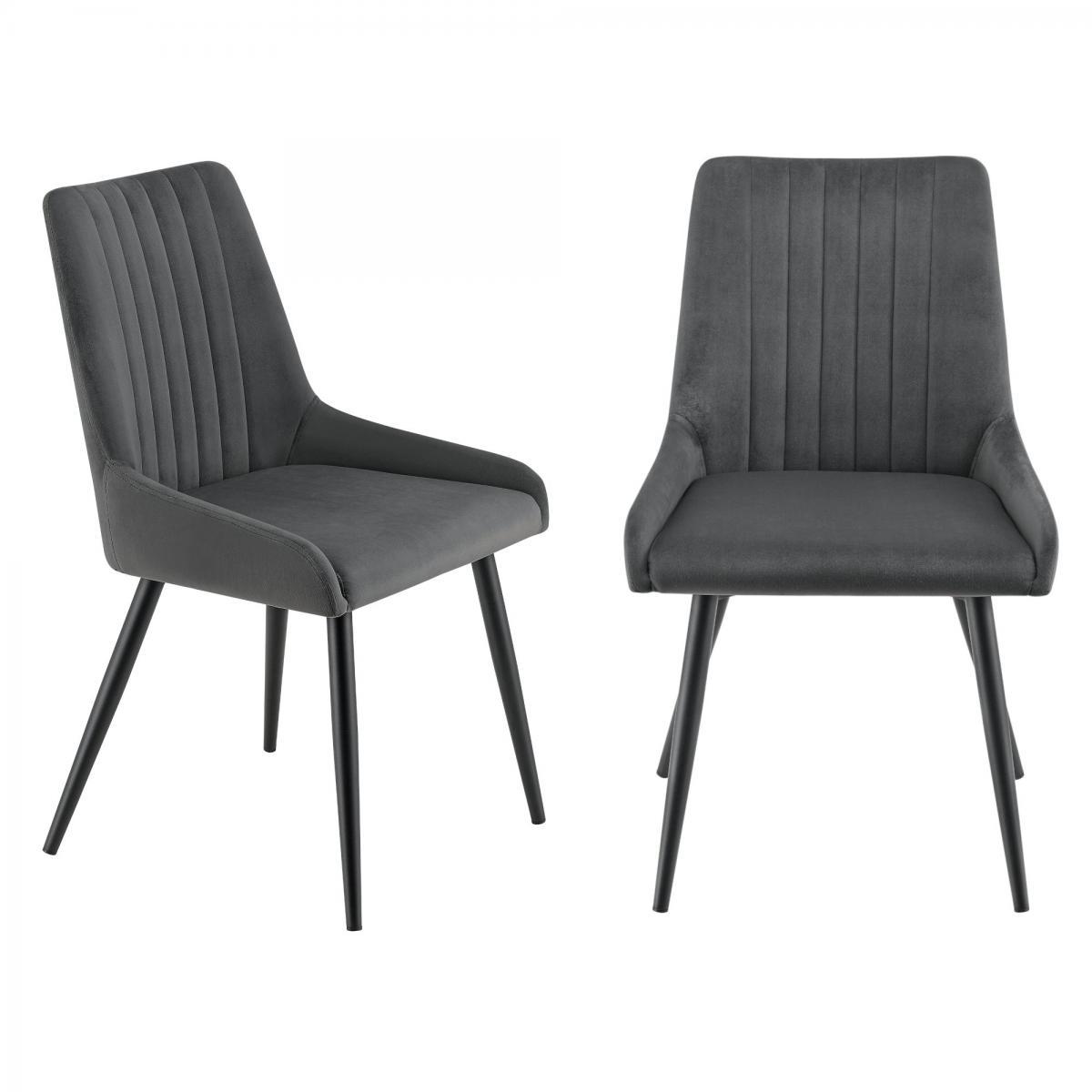 Helloshop26 Lot de 2 chaises sièges salle à manger pieds robustes acier velours gris foncé noir 03_0005749