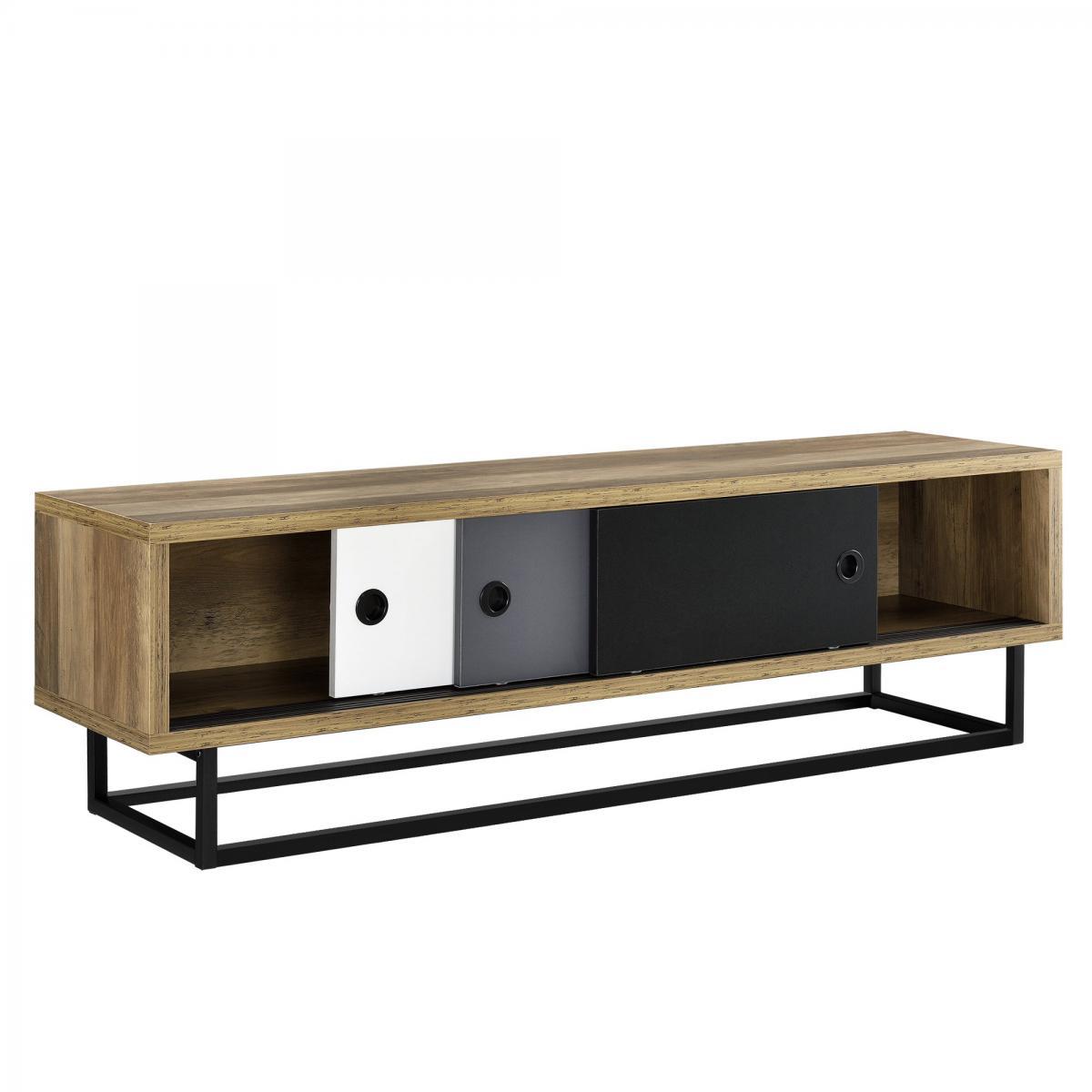 Helloshop26 Meuble TV avec 3 tiroirs 140 cm multicolore noir blanc gris marron 03_0002866