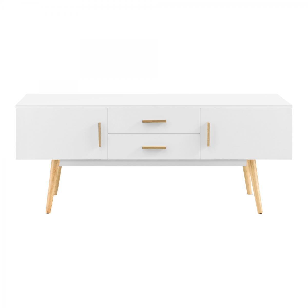 Helloshop26 Meuble tv design support télé banc pieds en bois 140 cm blanc 03_0005867
