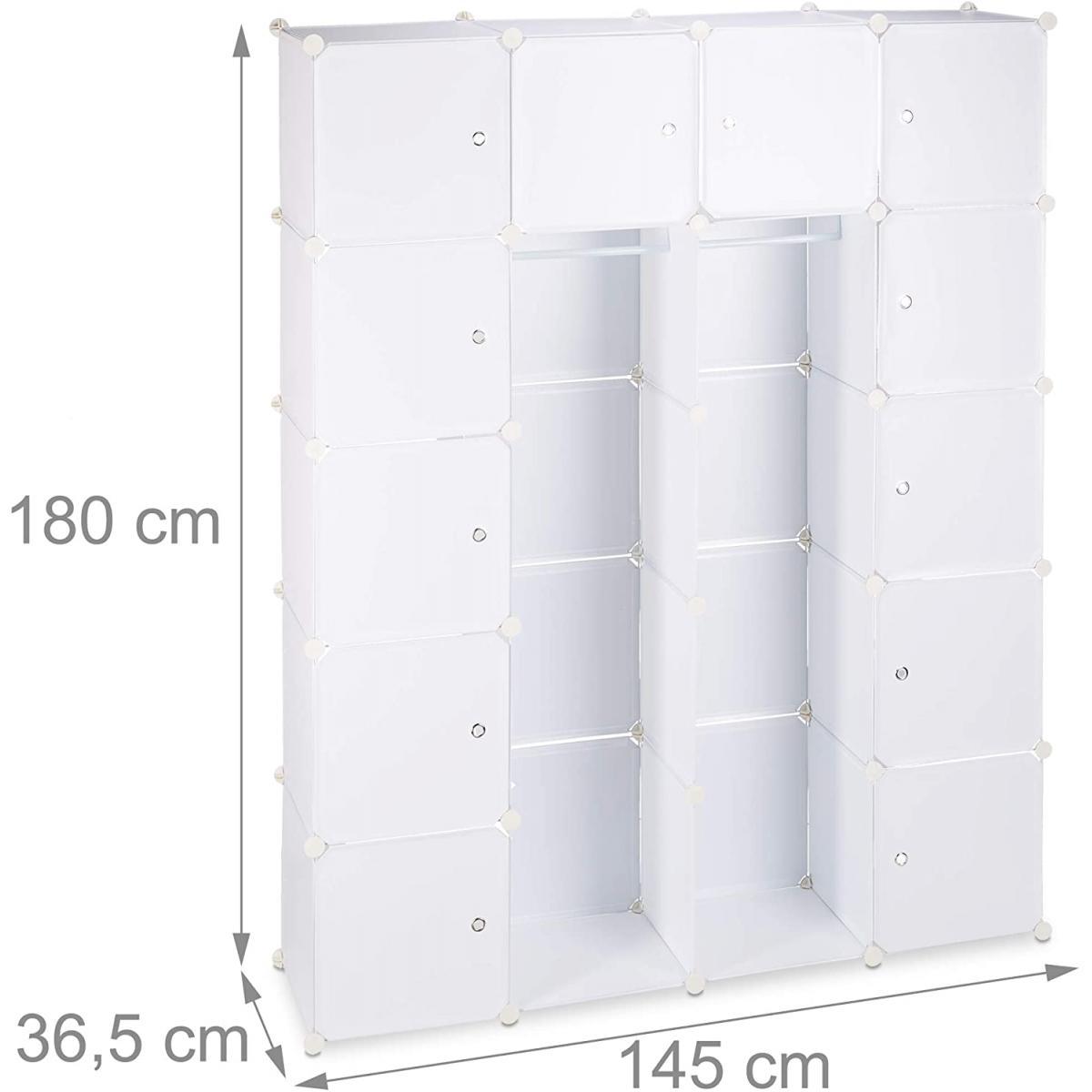 Helloshop26 Étagère cubes rangement penderie armoire plastique 14 casiers 180 cm blanc 13_0001070_2