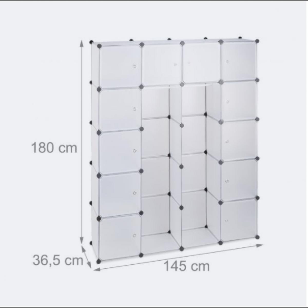 Helloshop26 Étagère cubes rangement penderie armoire plastique 14 casiers 180 cm transparent 13_0001070