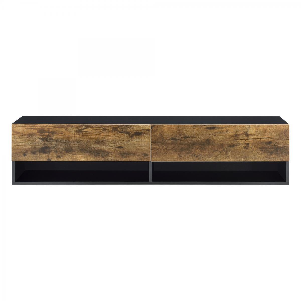 Helloshop26 Étagère murale design à 2 portes meuble support tv rangement 140 cm noir chêne foncé 03_0005185