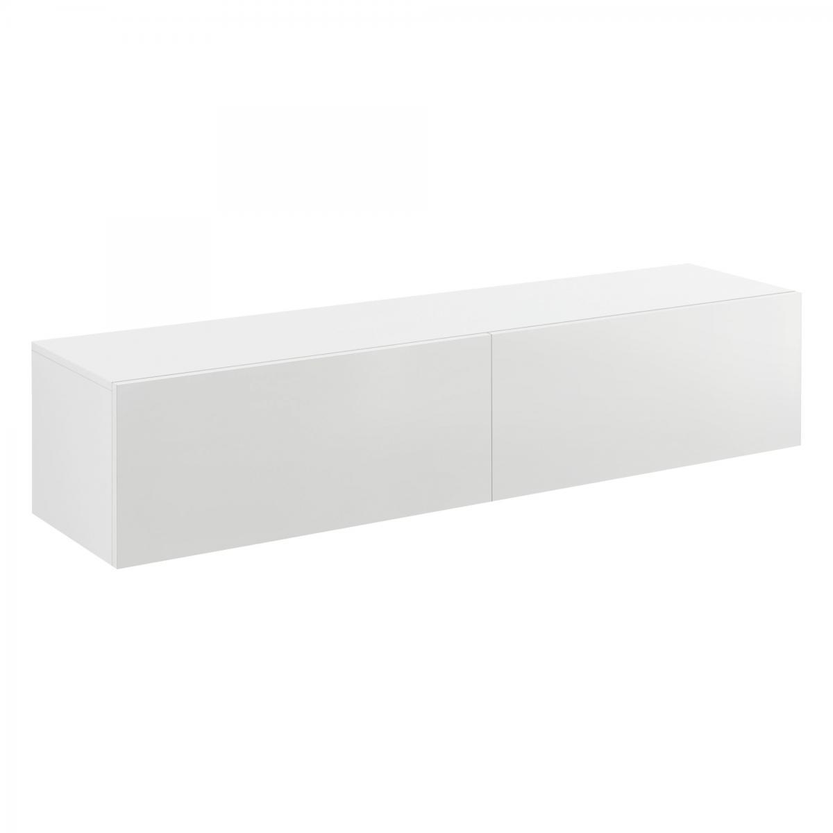 Helloshop26 Étagère murale design meuble support TV avec 2 tiroirs 140 cm blanc 03_0005187