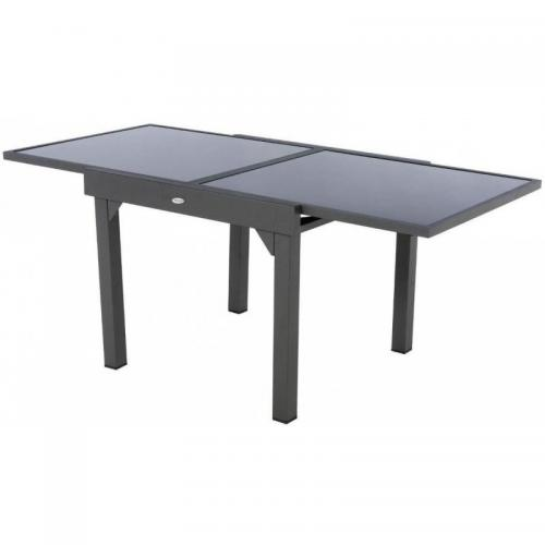 Hesperide - Table extensible carrée en verre Piazza 4/8 places Gris anthracite Hesperide   - table verre extensible