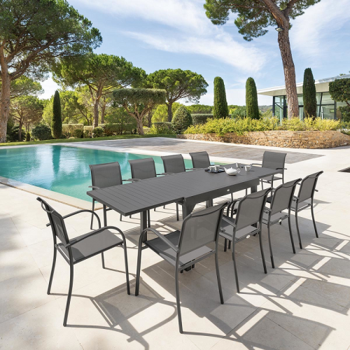 Hesperide - Table rectangulaire extensible Piazza 10 p. quartz Hespéride - Tables de jardin